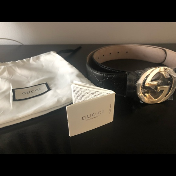 b62ab48c9 Gucci Accessories | Black And Silver Signature Leather Belt | Poshmark